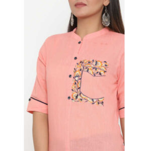 Cotton Elbow Sleeve Solid Straight Stitched Kurta By Women Magic(Pink2)