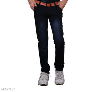 Cutiepie Fancy Boys Solid Cotton Blend Jeans By Priyanka Bansal (Black, Blue)