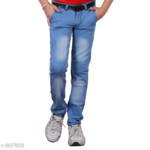 Cutiepie Fancy Boys Solid Cotton Blend Jeans By Priyanka Bansal (Blue)