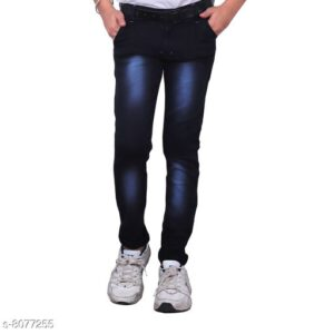 Cutiepie Fancy Boys Solid Cotton Blend Jeans By Priyanka Bansal (Dark Blue)