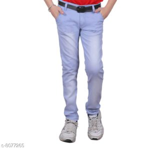 Cutiepie Fancy Boys Solid Cotton Blend Jeans By Priyanka Bansal (Light Blue)