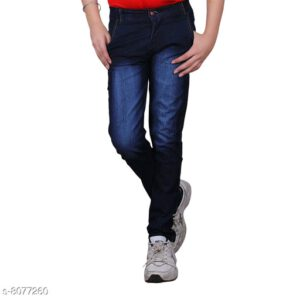 Cutiepie Fancy Boys Solid Cotton Blend Jeans By Priyanka Bansal (Navy Blue)