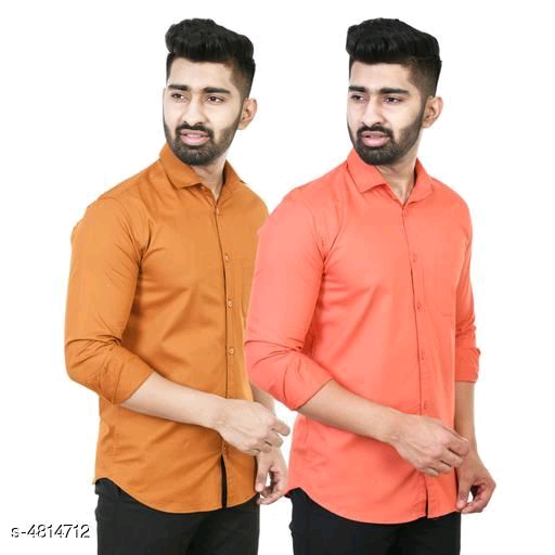 Elite Modern Men Full Sleeve Cotton Blend Solid Shirts Combo By Priyanka Bansal(Pink)