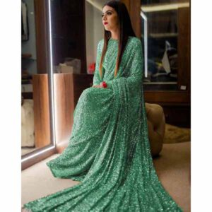 Georgette Saree By Shopping With Style (Light Green)