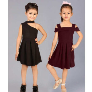 Girls Cotton Lycra Sleeveless Party Dresses Buy One Get One By Mango Man Market(Black, Maroon)