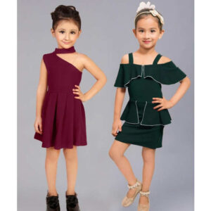 Girls Cotton Lycra Sleeveless Party Dresses Buy One Get One By Mango Man Market(Cedar Green, Maroon2)