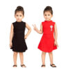 Girls Cotton Lycra Sleeveless Party Dresses Buy One Get One By Mango Man Market(Dark Brown, Red)