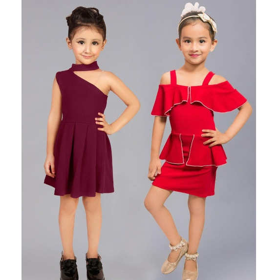 Girls Cotton Lycra Sleeveless Party Dresses Buy One Get One By Mango Man Market(Red, Maroon)