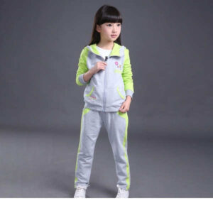 Girls Poly Cotton SolidPrinted Jacket & Top With Pant Sets By Mango Man Market Grey