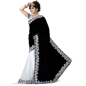 Kashvi Ensemble Velvet Saree With Banglori Silk Blouse By Priyanka Bansal (Black)