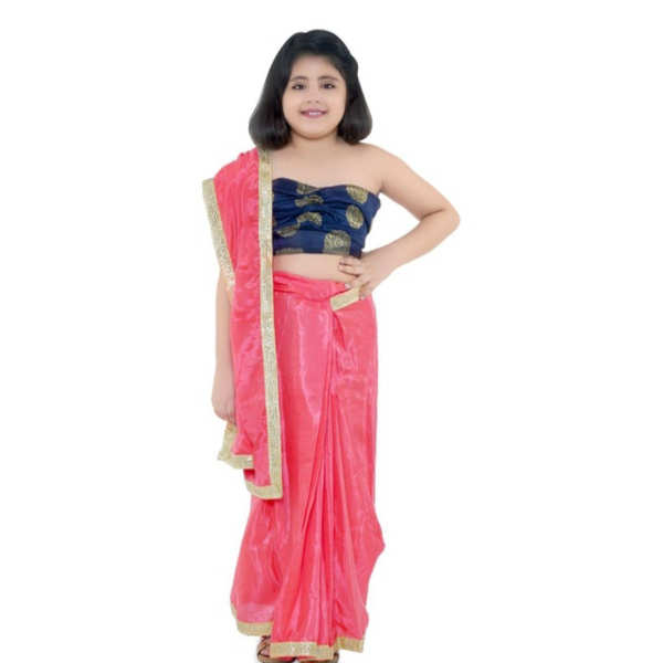 Kids Chairman Solid Stitched Saree With Blouse Sets By Mango Man Market (Red)