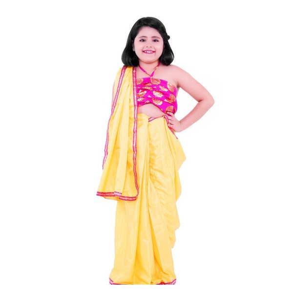 Kids Chairman Solid Stitched Saree With Blouse Sets By Mango Man Market (Yellow)