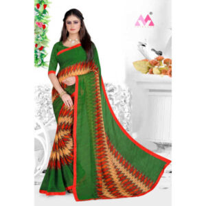 New Launch Georgette Roman Saree With Banglory Silk Running Blouse By Tushar Creation (Green)