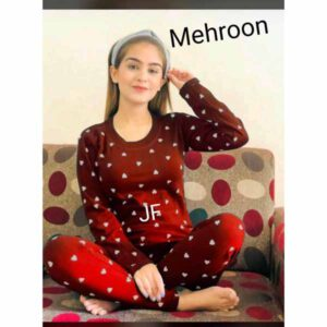 Night Suit Cum Track Suit For Women By Sai Collection (Maroon)