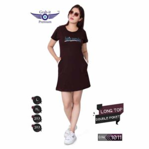 Plan Long Top With Double Side Pocket For Women By Khusi Fashion (Dark Brown)