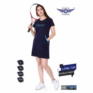 Plan Long Top With Double Side Pocket For Women By Khusi Fashion (Navy Blue)
