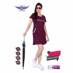 Plan Long Top With Double Side Pocket For Women By Khusi Fashion (Purple)