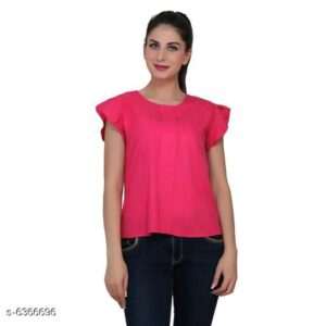 Stylish Women American Crepe Sleeveless Top By Mango Man Market (Ruby)