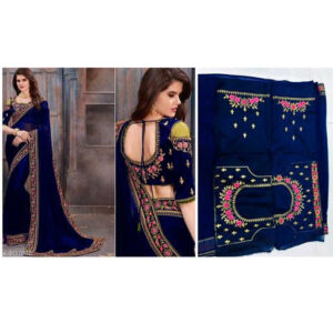 Stylish Women Heavy Georgette Embroidery Work Saree With Running Blouse By Mango Man Market (Blue)
