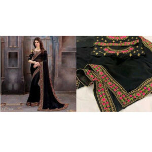 Stylish Women Heavy Georgette Embroidery Work Saree With Running Blouse By Mango Man Market (black)