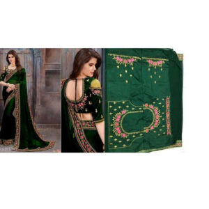 Stylish Women Heavy Georgette Embroidery Work Saree With Running Blouse By Mango Man Market (green)