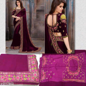 Stylish Women Heavy Georgette Embroidery Work Saree With Running Blouse By Mango Man Market (maroon)