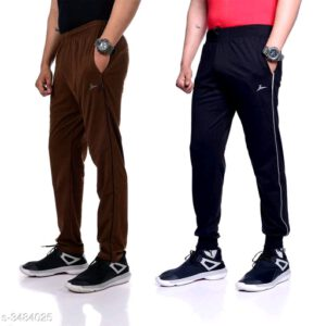 Trendy Poly Cotton Men Track Pants Combo With Surprise Free Gift By Priyanka Bansal (Brown, Dark Blue)