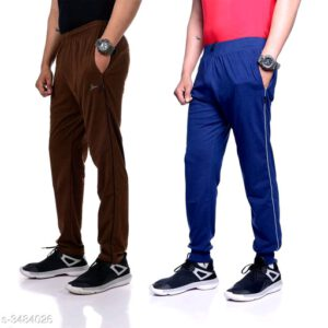 Trendy Poly Cotton Men Track Pants Combo With Surprise Free Gift By Priyanka Bansal (Brown, Light Blue)