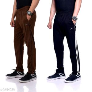 Trendy Poly Cotton Men Track Pants Combo With Surprise Free Gift By Priyanka Bansal (Brown, Navy Blue