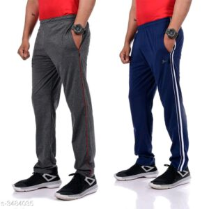 Trendy Poly Cotton Men Track Pants Combo With Surprise Free Gift By Priyanka Bansal (Grey, Dark Blue)