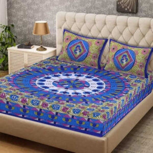 100 % Cotton Rajasthani Panel One Queen Size Bedsheet With Two Pillow Covers By Shivam Creation