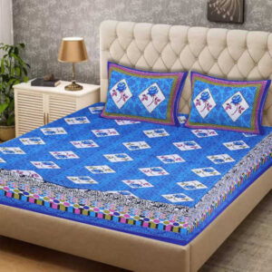 100 % Cotton Rajasthani Panel One Queen Size Bedsheet With Two Pillow Covers By Shivam Creation(Light Blue)