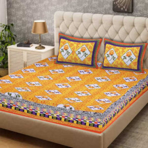 100 % Cotton Rajasthani Panel One Queen Size Bedsheet With Two Pillow Covers By Shivam Creation(Light yellow)