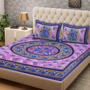 100 % Cotton Rajasthani Panel One Queen Size Bedsheet With Two Pillow Covers By Shivam Creation(Multicolor11)