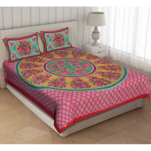 100 % Cotton Rajasthani Panel One Queen Size Bedsheet With Two Pillow Covers By Shivam Creation(Multicolor12)