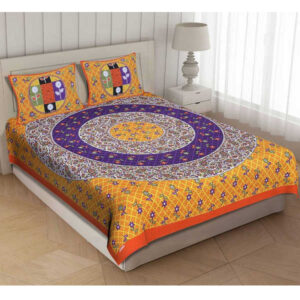 100 % Cotton Rajasthani Panel One Queen Size Bedsheet With Two Pillow Covers By Shivam Creation(Multicolor14)