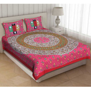 100 % Cotton Rajasthani Panel One Queen Size Bedsheet With Two Pillow Covers By Shivam Creation(Multicolor15)