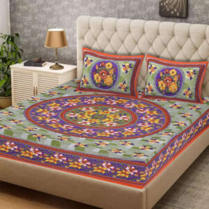 100 % Cotton Rajasthani Panel One Queen Size Bedsheet With Two Pillow Covers By Shivam Creation(Multicolor16)