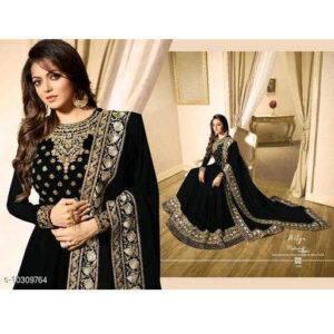 Aagam Drishya Georgette Santoon Semi-Stitched Dress Materials For Suit With Dupatta By Mango Man Market (Black)