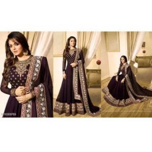 Aagam Drishya Georgette Santoon Semi-Stitched Dress Materials For Suit With Dupatta By Mango Man Market (Maroon3)