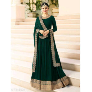 Aagam Drishya Silk Net Georgette Semi-Stitched Dress Materials For Suit With Dupatta By Mango Man Market (Green)
