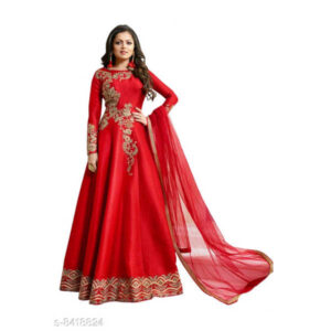 Aagam Drishya Silk Net Georgette Semi-Stitched Dress Materials For Suit With Dupatta By Mango Man Market (Red)