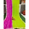 Chiffon Gotta Border Beautiful Colorful Saree By Rajasthan Collection (Green)
