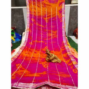 Chiffon Gotta Border Beautiful Colorful Saree By Rajasthan Collection (Multicolor) (2)