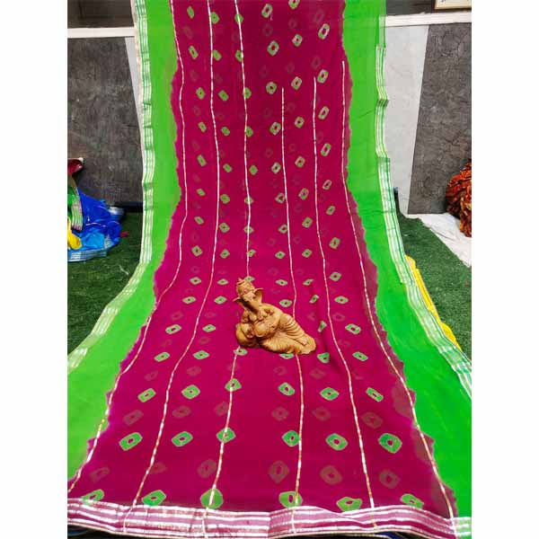 Chiffon Gotta Border Beautiful Colorful Saree By Rajasthan Collection (Red) (2)