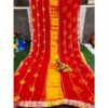 Chiffon Gotta Border Beautiful Colorful Saree By Rajasthan Collection (Red) (3)
