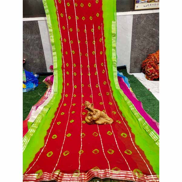 Chiffon Gotta Border Beautiful Colorful Saree By Rajasthan Collection (Red) (4)