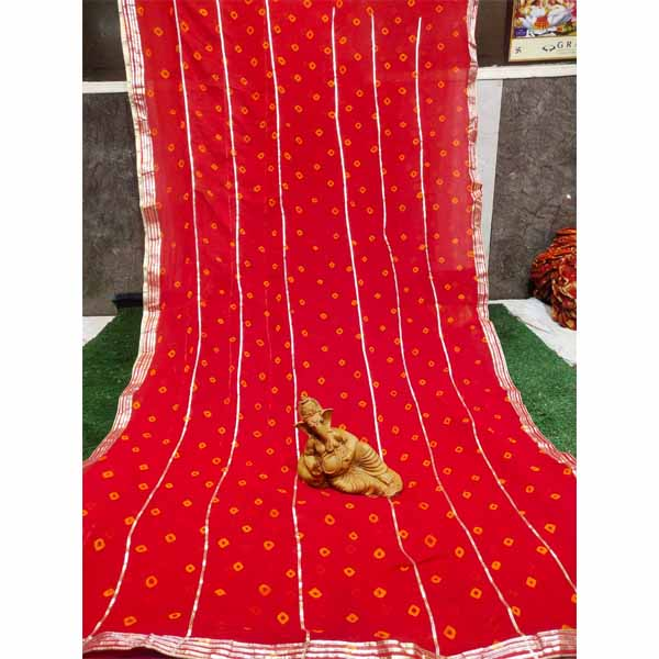 Chiffon Gotta Border Beautiful Colorful Saree By Rajasthan Collection (Red) (5)