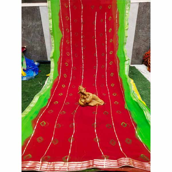 Chiffon Gotta Border Beautiful Colorful Saree By Rajasthan Collection (Red)