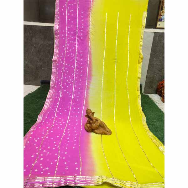 Chiffon Gotta Border Beautiful Colorful Saree By Rajasthan Collection (Yellow) (3)